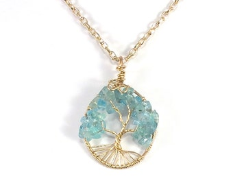 Neon Apatite Tree of Life  Pendant, Aqua Tree of Life Necklace, Apatite, Bronze Tree of Life, Aqua Tree of Life, Wire Wrapped Tree of Life