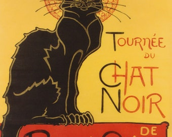 "Theophile Steinlein ""Le Chat Noir"" Advertising Black Cat Cabaret Entertainers 1896 Reproduction Digital Print Vintage Print Wall Hanging"