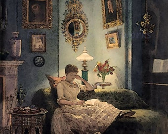 "Sir Edward Poynter ""An Evening at Home"" Woman Reading a Book 1888 Reproduction Digital Print Vintage Print Wall Hanging"