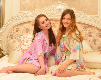 unique wedding party gifts bride and bridesmaids robes bridesmaid robes silk Not silk robes for brides winter wedding bridesmaids SJP00