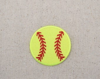 Large - Softball -Neon Yellow - Embroidered Patch - Iron on Applique  - WA228-S