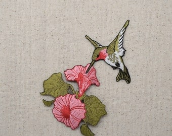 Large - Ruby Red Throat Hummingbird - Pink Flowers - Iron on Applique - Embroidered Patch - 696072-A