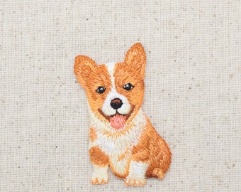 Corgi - Puppy Dog - Sitting - Full Body - Embroidered Patch - Iron on Applique - 1517280A