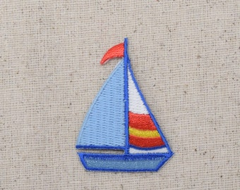 Sailboat - Blue, White, Yellow and Red - Iron on Applique - Embroidered Patch - 695725A