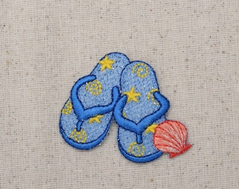 Blue Beach Sandels - Pink Seashell - Yellow Stars Iron on Applique - Embroidered Patch - 154995A