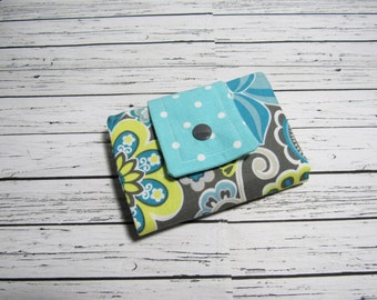 Fabric Womens Billfold Wallet, Credit Card Money Holder Bifold Wallet, Fabric Billfold, Womens Gift Under 30