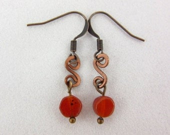 Carnelian Wire Wrap Earrings Handmade Dangle Antique Copper Earrings