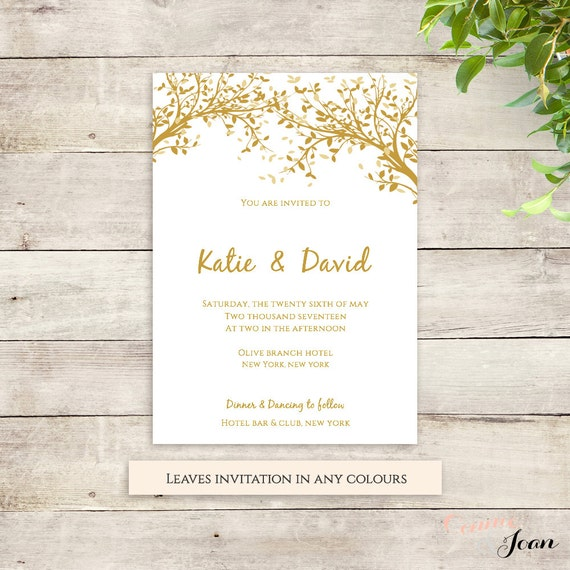 Tree invitation printable template instant by connieandjoan for Free printable tree wedding invitations