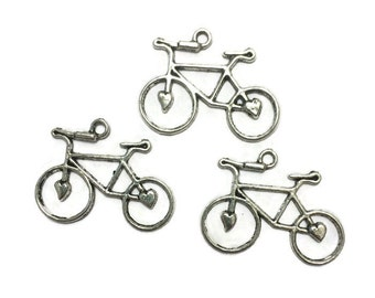 Bicycle Charms - Bike Charms - Silver Bicycle Charms - Silver Bike Charms - Lot of 3 Charms - Silver Charms - Jewelry Supplies