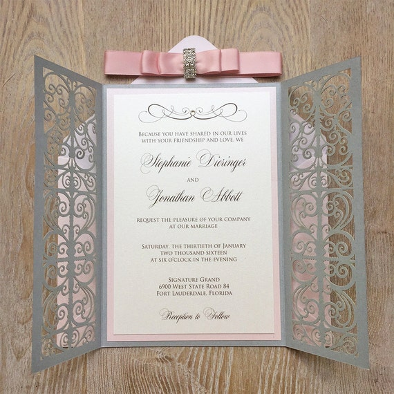 STEPHANIE - Blush and Silver Laser Cut Wedding Invitation - Silver Shimmer Laser Cut Gatefold w/ Blush Ribbon and Silver Rhinestone Buckle