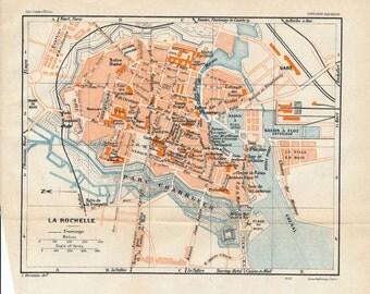 1932 La Rochelle France Antique Map