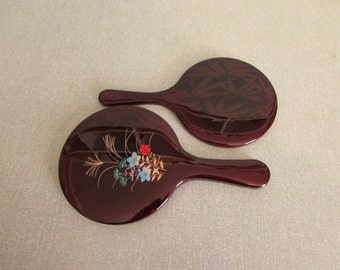 Vintage lacquered-effect double nested vanity/hand mirror set