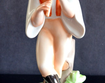 Vintage Zsolnay Figurine Man Playing Flute Artist Signed Hungary Hand Painted Porcelain Mid Century Modern Home Decor