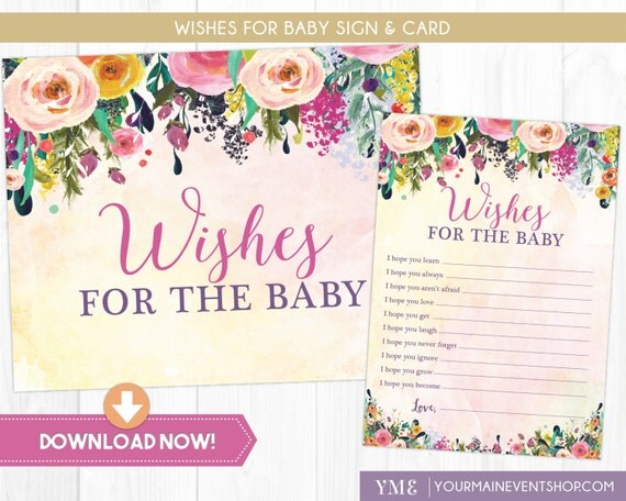 Wishes For Baby Card • Whimsical Well Wishes • Baby Shower Wishes Sign and Card Printable Instant Download • BS-G-02