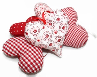 Fabric heart heart heart 5 piece points checkered red white