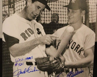 Roger Maris & Ted Williams New York Yankees 8X10 Photo Signed by Tracy Stallard and Jack Fisher, New York Yankees,Boston Red Sox,MLB,COA