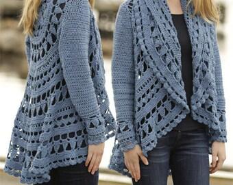 Crochet Sea Glass Women's Circle Design Cardigan Sweater Jacket, Custom Order, Handmade