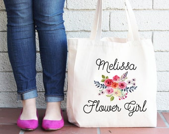 Flower Girl Tote Bag Personalized Tote bag Bridesmaid Tote Bag Wedding Tote Bag Natural Tote Bag Flower Girl Bag Floral Tote Bag