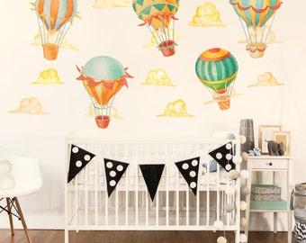 Up & Away Hot Air Balloon  Watercolor Wall Decal Kit - Hot Air Balloon Wall Decal by Chromantics