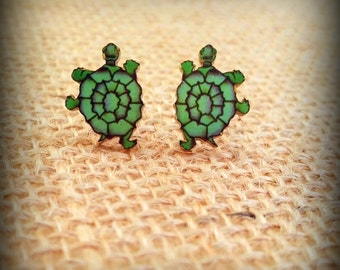 Turtle Earrings - Tattoo Earrings - Sailor Jerry Earrings - Turtle Jewelry - Tattoo Art - Ocean Earrings - Sea Life Earrings - Beach Fun