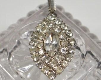 Vintage Clear Rhinestone Statement Pendant Special Occasion Bridal Wedding Rhinestone Marquise Shaped Pendant