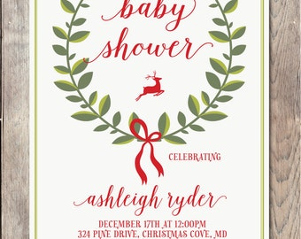 Baby Shower Invitation, Christmas Baby Shower Invitation, Christmas Baby Shower, Christmas Party, Christmas Party Invitation, Baby [542]