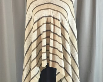 Handmade Cashmere Poncho- Almond & Burlywood Stripes