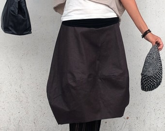 Brown Skirt - Cotton Skirt - Brown Midi Skirt - Wide Skirt - Tulip Brown Skirt - Large Skirt - Minimal Skirt - Modern Skirt - Midi