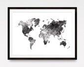 Watercolor World Map, Watercolor Map, Explore Print, Large World Map, Travel Map, World Map Poster, Watercolor poster, Download Print