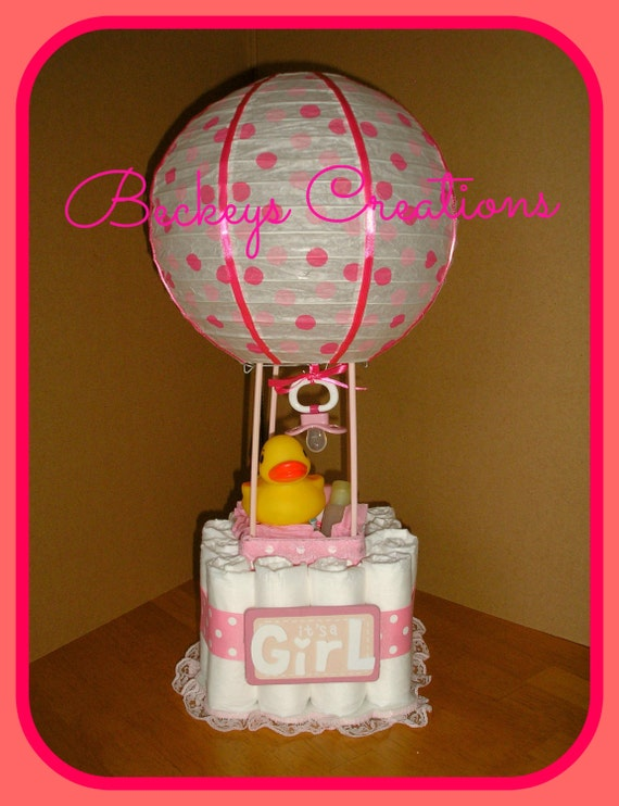 hot air balloon diaper cake. Black Bedroom Furniture Sets. Home Design Ideas