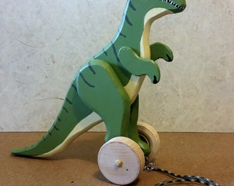 Large Wooden T-Rex Dinosaur Rolling Toy with optional Pull String for Toddlers and Kids