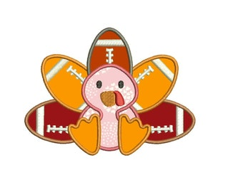 Football Turkey Applique Design Machine Applique Embroidery Designs 7 Size - INSTANT DOWNLOAD