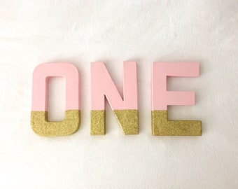 8 Inch ONE Pink and Gold First Birthday Letters, First Birthday Photo Prop, Cardboard ONE Letters, Pink and Gold First Birthday