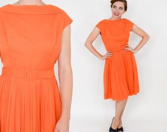50s Lilli Diamond Orange Party Dress | Chiffon Dress|  Medium