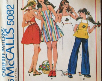 McCalls 5082 - 1970s Girl's Quick and Easy Backless Dress or Top - Size 10 Bust 28.5
