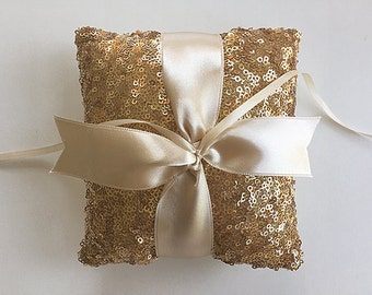 EXPRESS SHIPPING, Wedding Ring Bearer Pillow, Gold Sequin Ring Pillow, Ivory Satin Ribbon, Gold Wedding Pillow, Sequin Pillow, Boho Wedding