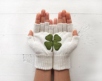 Shamrock Gift, St Patricks Day Gift, Women Gloves, Day Gift, Gift For Her, Gift For Girlfriend, Birthday Gift, Good Fortune Gift