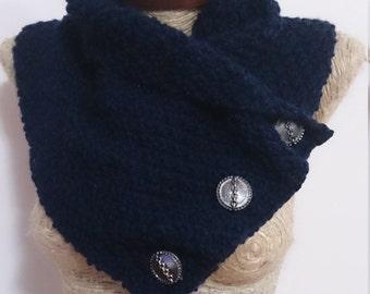 Knit cowl, Lancaster scarf, button scarf, boston harbour scarf, winter gift, boyfriend gift, 3 button scarf, neckwarmer,  gift for man