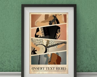 Mumford and Sons Inspired Poster - Music Poster, Wall Art