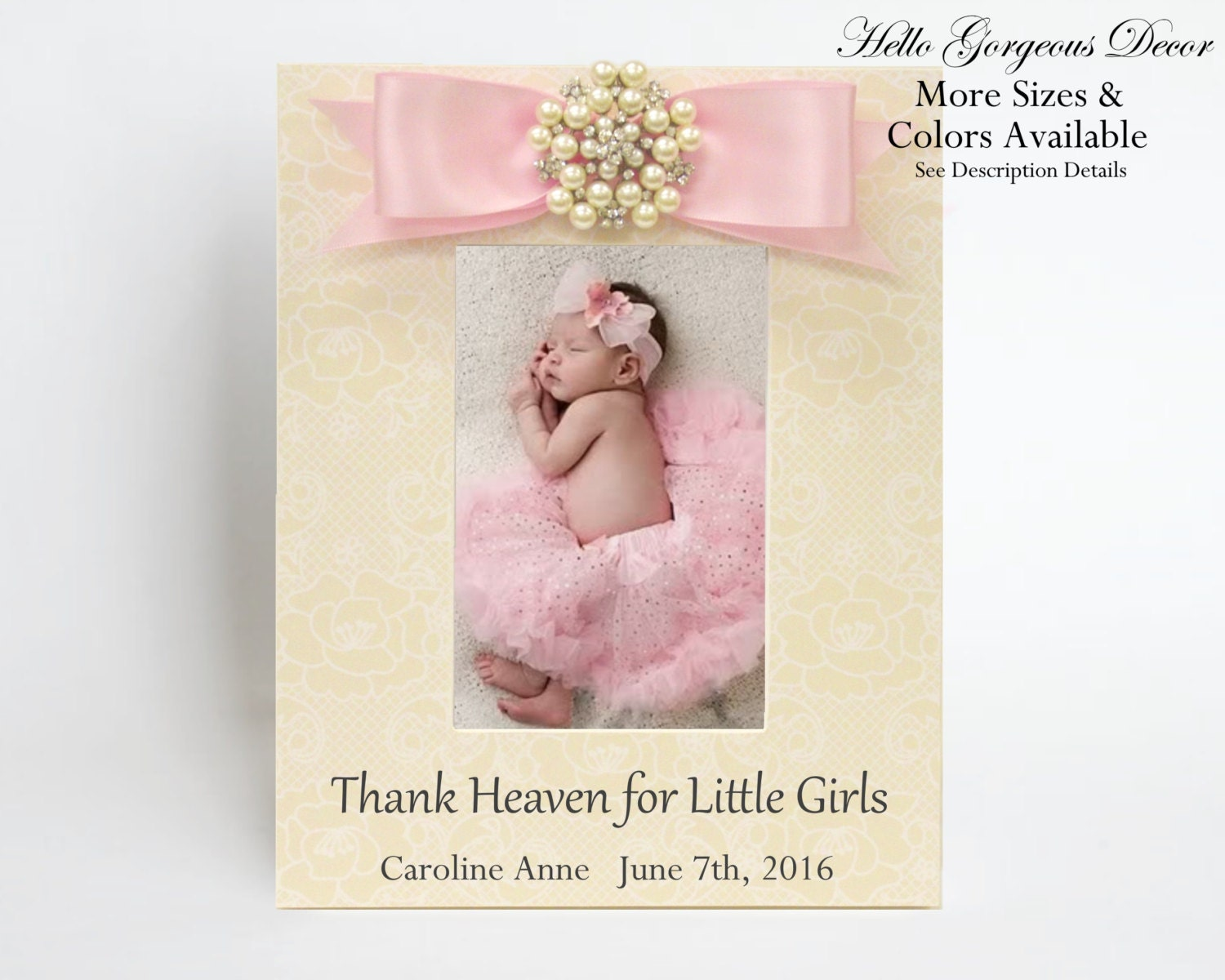 Newborn Baby Gift Ideas Girl : Baby picture frame gift for new girl personalized