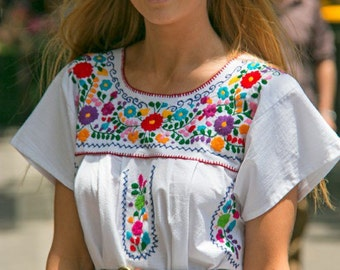 Adult Mexican dress - White manta hand embroidered