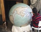 HUGE GLOBE : Handcrafted & Hand Painted World Globe, 127 Diameter, Made to Order in London