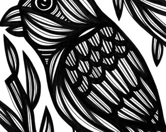 Bird Voracious Nature Original Drawing