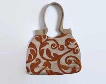 Tote bag copper, gold,versitile tote bag, upholstery bag, trendy shoulder bag,copper gold upholstery fabric, trendy tote, versatile tote bag
