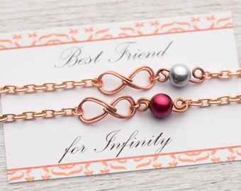 2 sisters best friend bracelet set of two Best friend for Infinity card - 2 bff bracelet set of 2 rose gold infinity gift -