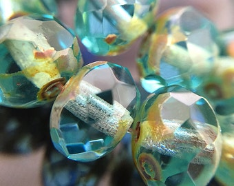 Faceted Aqua Blue Czech Glass Rondelle Beads, Aqua Glass Beads with Picasso, Blue Glass Donut Rondelle Beads, 8x6mm - 25 beads (RON-50)