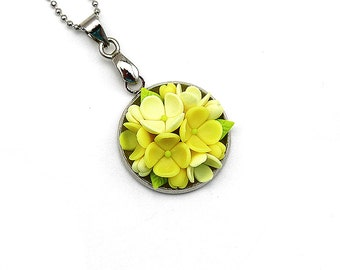 Gift-for-her Polymer Clay Necklace Pendant Polymer Clay Jewelry Clay Jewelry Fashion Jewelry Floral Pendant Necklace Yellow Pendant