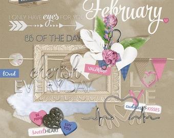 Everyday February: Digital Scrapbooking Embellishments