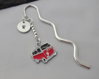 Initial Camper Van Bookmark, Camper Van Bookmark, VW Gift, Camper Van Gifts, Hand Stamped, VW Bookmark, Readers Gift, Book Lover Gifts