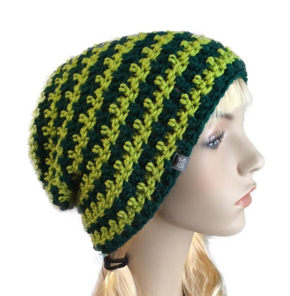 Lucky Green Beanie crochet slouchy hat adult size
